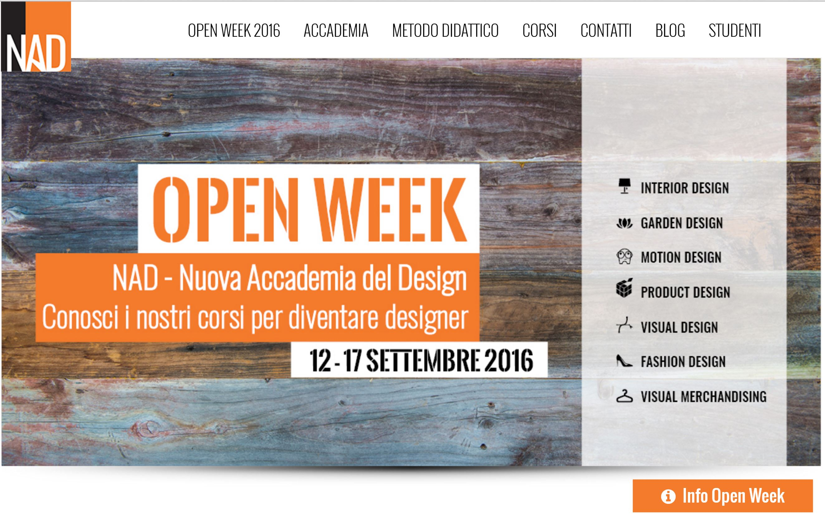 Nuova Accademia Del Design open week nad nuova accademia del design 12-17 settembre 2016